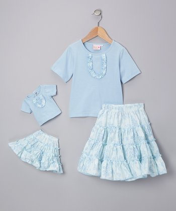 Light Blue Victoria Skirt Set & Doll Outfit - Girls