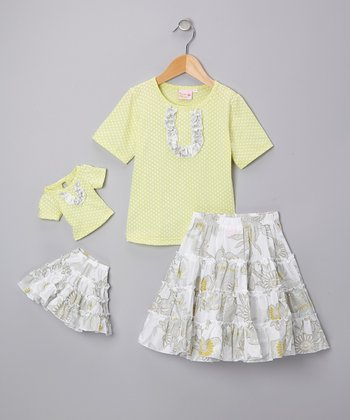 Lemon Zest Victoria Skirt Set & Doll Outfit - Girls