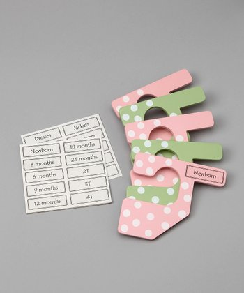Pink & Green Polka Dot Closet Divider Set - Kids