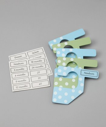 Blue & Green Polka Dot Closet Divider Set - Kids