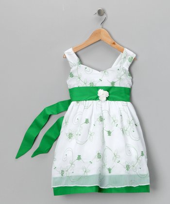 Green Rosy Dress - Toddler & Girls