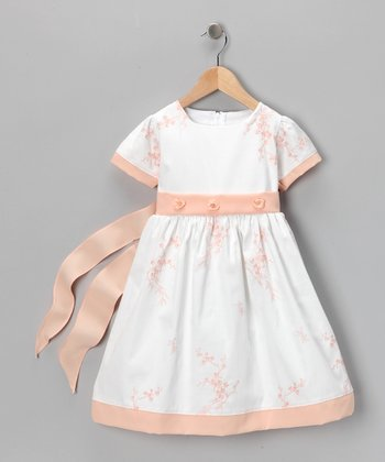Apricot Floral Dress - Toddler & Girls