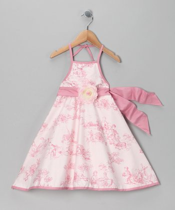 Pink Toile Dress - Girls