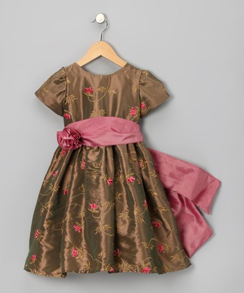 Bronze Flower Dress - Toddler & Girls