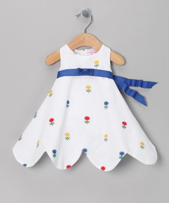 White & Royal Flower Pique Dress - Infant