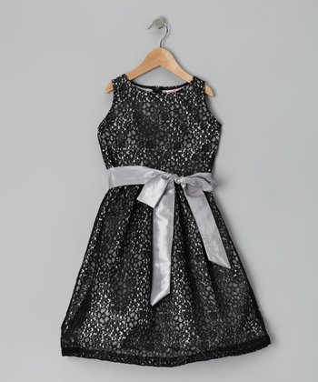Silver Lace Dress - Girls