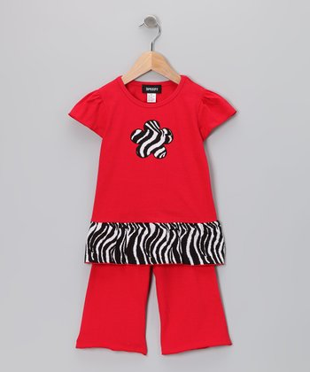 Red Zebra Tunic & Pants - Toddler & Girls
