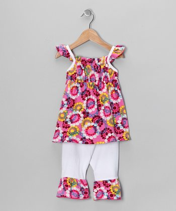Hot Pink Flower Tunic & Pants - Toddler & Girls