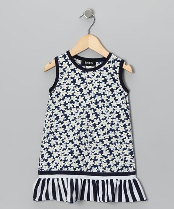 Navy Flower Dress - Toddler & Girls