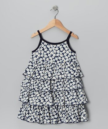 Navy Flower Ruffle Dress - Toddler & Girls