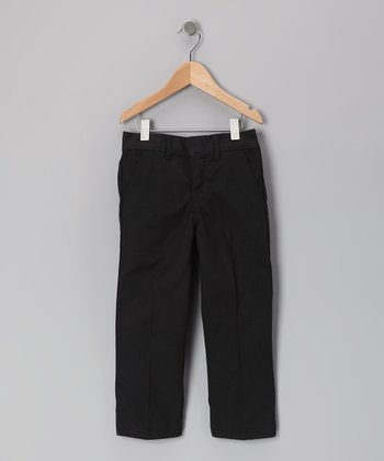 Black Plain-Front Pants - Girls