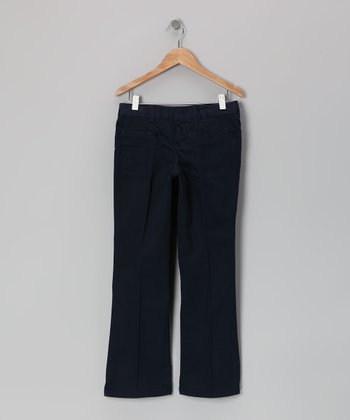 Dark Navy Stretch Pants - Girls