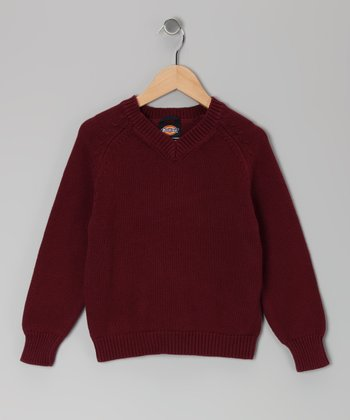 Burgundy V-Neck Sweater - Boys