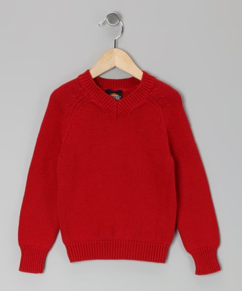 Red V-Neck Sweater - Boys