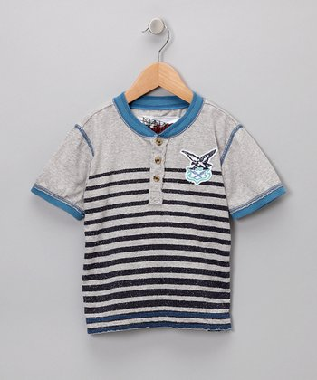 Heather Gray Stripe Henley - Toddler & Boys