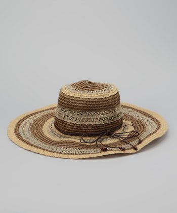 Brown Stripe Weave Sun Hat