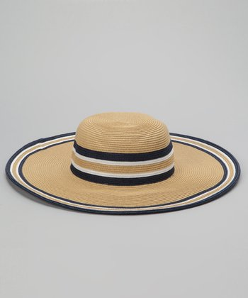 Tan & Navy Stripe Sun Hat