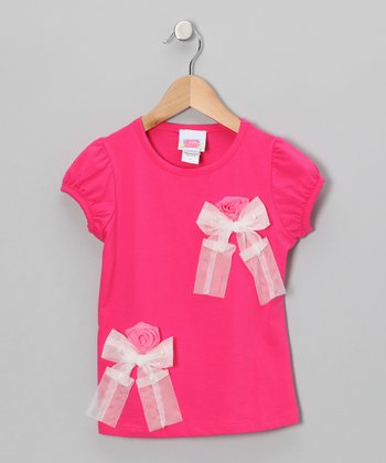 Dark Pink Rosette Bow Tee - Toddler & Girls