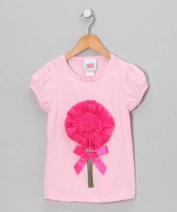 Light & Dark Pink Solid Flower Tee - Toddler & Girls