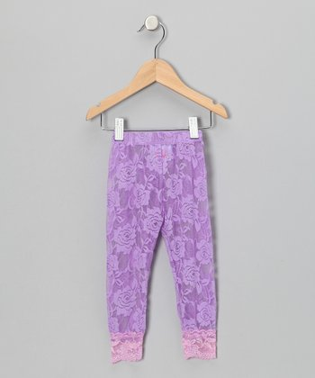 Lilac Lace Leggings - Toddler & Girls