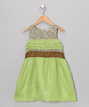 Lime Floral Silk Dress - Toddler & Girls