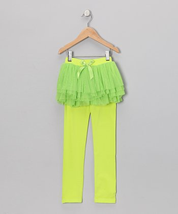 Lime Ruffle Skirted Leggings - Toddler & Girls