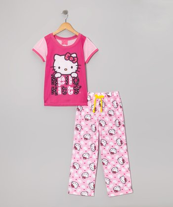 Pink Hello Kitty Pajama Set - Girls