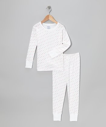 White Polka Dot Pajama Set - Girls