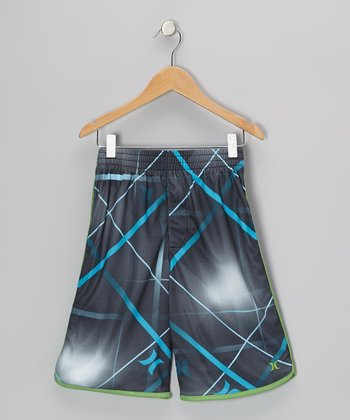 Black Straps Shorts - Boys