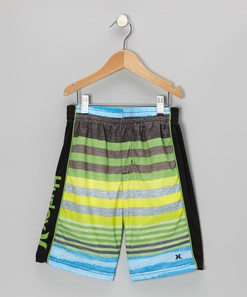 Neon Green Faux Shorts - Boys