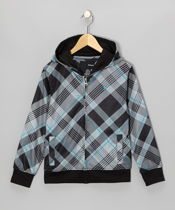 Black Plaid Shifter Hoodie - Boys