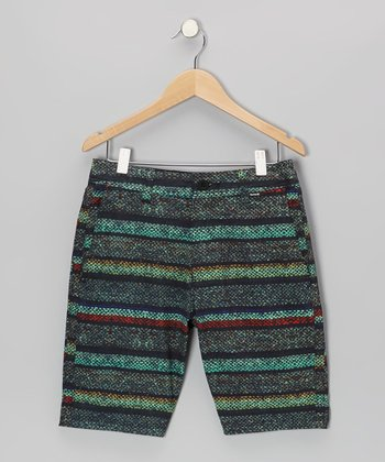 Green Burlap Shorts - Boys