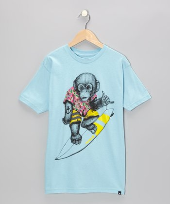 Light Blue Monkey Around Tee - Boys