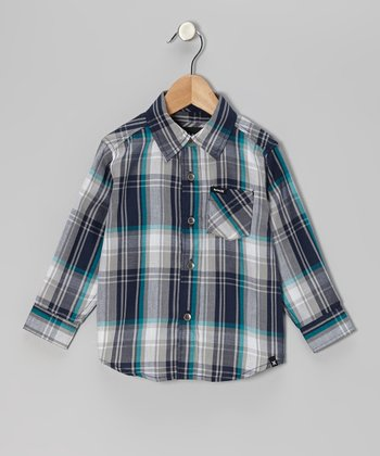 Legacy Navy Plaid Button-Up - Toddler