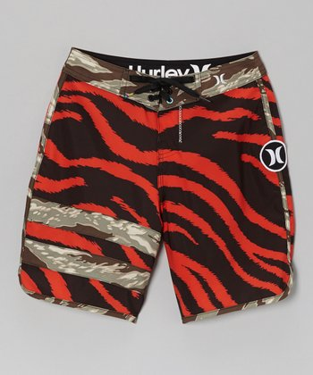 Red Zebra Stripe Boardshorts - Boys