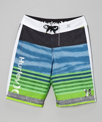 Green Stripe Boardshorts - Boys