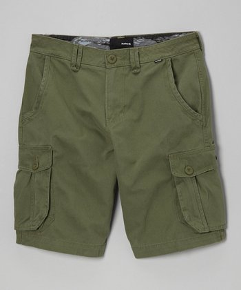 Olive Green Cargo Shorts - Boys