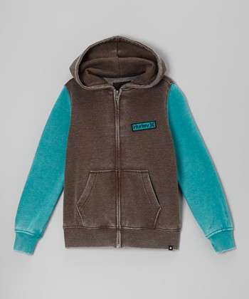 Brown & Blue Zip-Up Hoodie - Boys