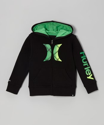 Black & Green Zip-Up Hoodie - Toddler & Boys