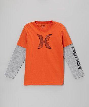 Blaze Orange Distressed Logo Layered Tee - Boys