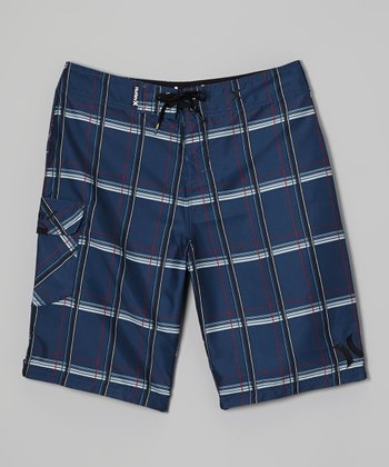 Navy Plaid Puerto Rico Boardshorts - Boys
