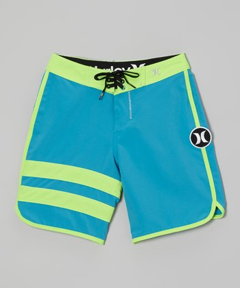 Turquoise Block Party Boardshorts - Boys