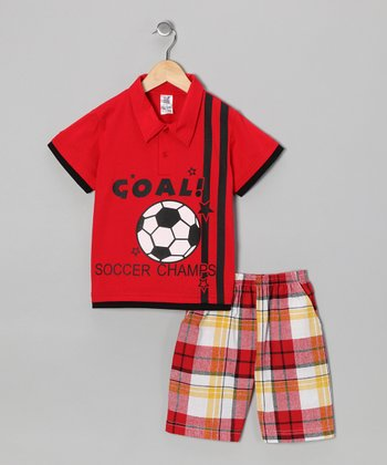 Red 'Goal' Polo & Plaid Shorts - Boys