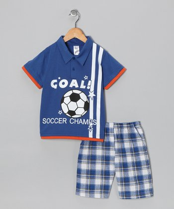 Royal 'Goal' Polo & Plaid Shorts - Boys
