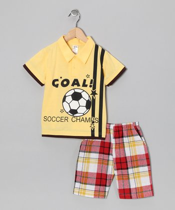Yellow 'Goal' Polo & Plaid Shorts - Boys