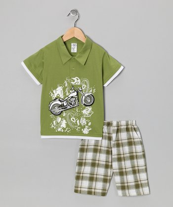 Lime Motorcycle Polo & Plaid Shorts - Boys