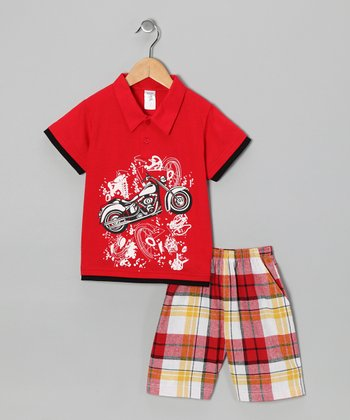 Red Motorcycle Polo & Plaid Shorts - Boys