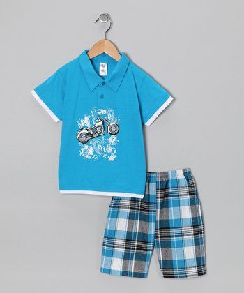Turquoise Motorcycle Polo & Plaid Shorts - Boys