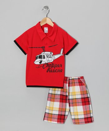 Red Helicopter Polo & Plaid Shorts - Boys