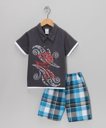 Charcoal Swirl Polo & Plaid Shorts - Infant & Boys